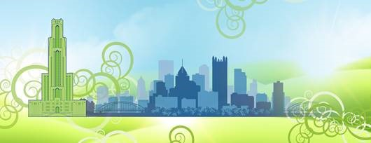 Green Cathedral with Blue Pittsburgh background