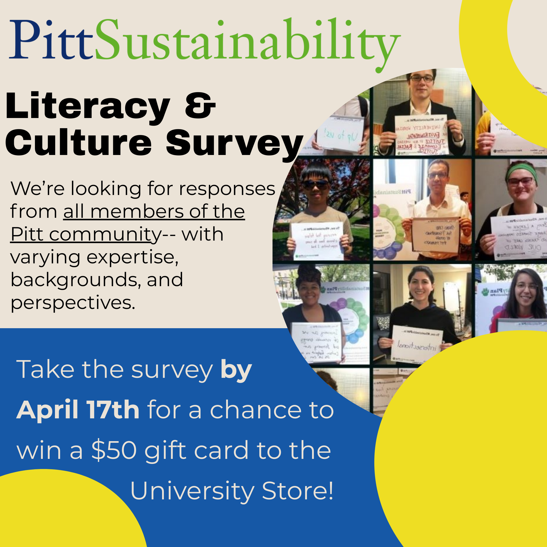 Take the Pitt Sustainability Literacy & Culture Survey!
